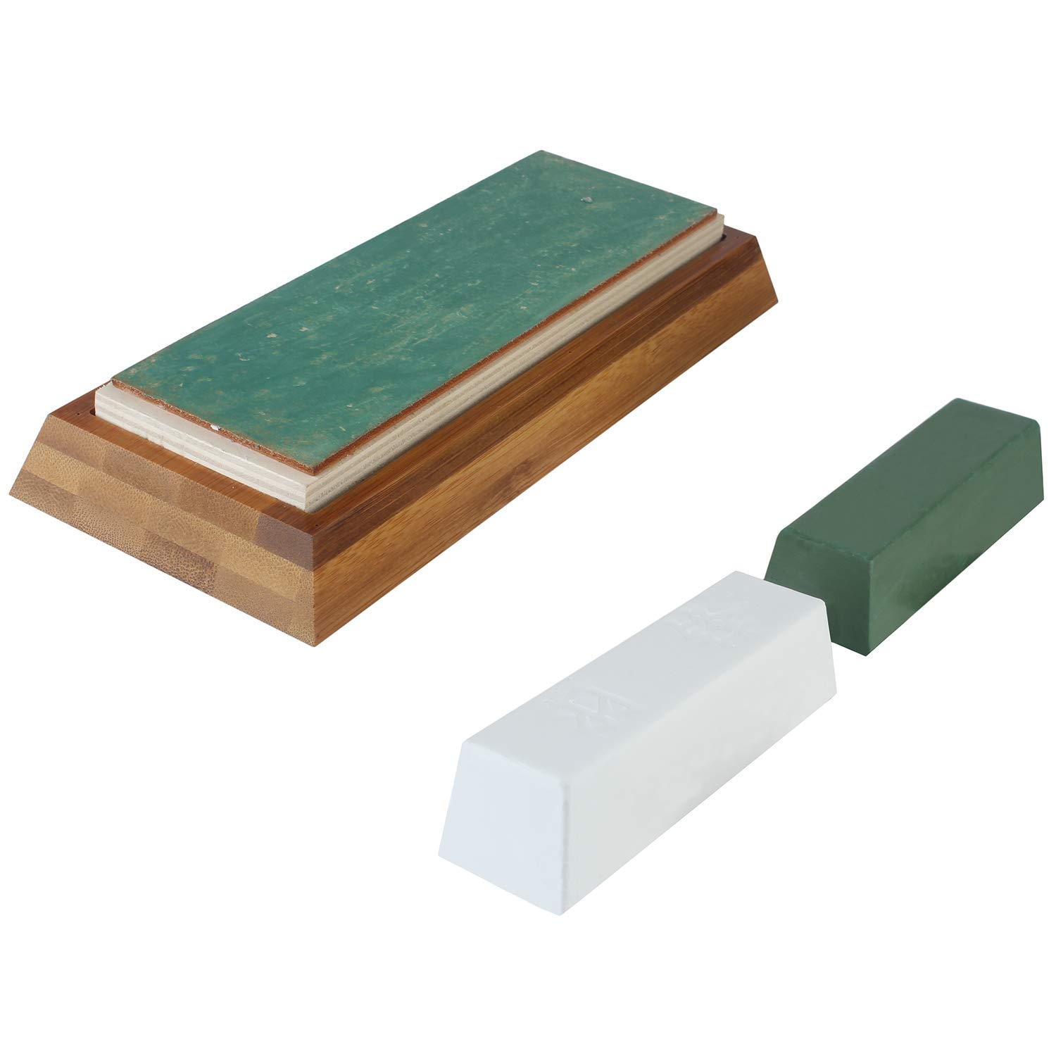 7x2 4 inch Leather Strop Honing Strop for Knife Sharpening with Green&White  Buffing Compound & Antislip Bamboo Block