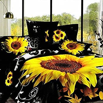 Amazon Com Alicemall Xl Twin Size Sunflower 3d Bedding
