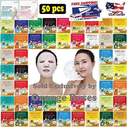Essence Sheets Mask 5 ([OBS lab] 50 pcs Ultra Hydrating Essence Mask, Korean Facial Mask Sheet, 50 Combo-Pack ( 3 x 16 Types + 1 Hand Mask + 1 Foot Mask ))