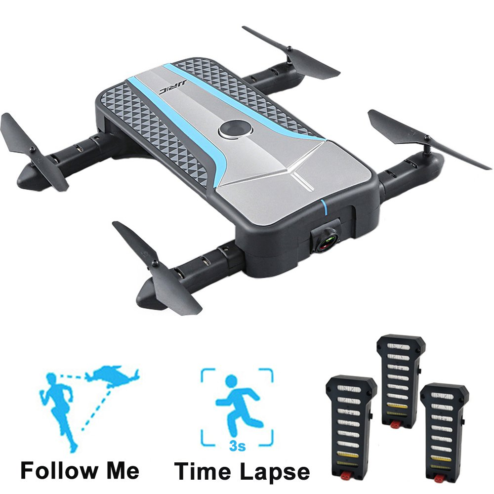 JJRC H62 RC Mini Drone with Auto Follow Quadcopter with Camera FPV Foldable Drone with Optical Flow Position Altitude Hold Helicopter RTF Drone Follow Me (3 batteries)