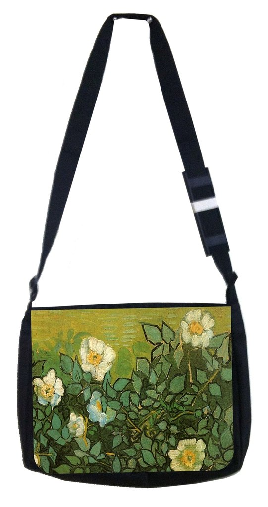 TM Medium Sized Messenger Bag 11.75 x 15.5 and 4.5 x 8.5 Pencil Case SET Van gogh wild roses Rosie Parker Inc