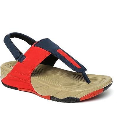 6a60c25cb035 PARAGON SOLEA Plus Women's Red & Navy Blue Sandals: Buy Online at ...