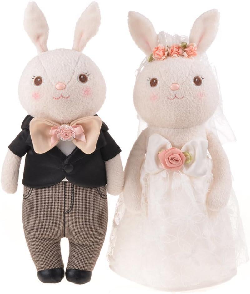 Good Night Vestido de Novia de los Amantes del Conejo de tiramisú Juguete de Peluche Conejo de Peluche Precioso Regalo, 2pcs
