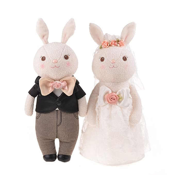 Good Night Vestido de novia de los amantes del conejo de tiramisú Juguete de peluche conejo de peluche precioso regalo, 2pcs: Amazon.es: Juguetes y juegos