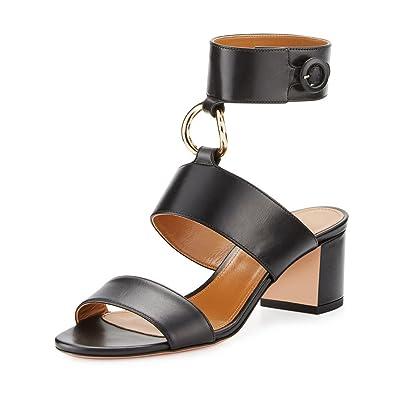 7c4e2fe781 YDN Women s Ankle Straps Pumps Suede Block Mid Heels Sandals Open Toe Night  Dress Shoes Black