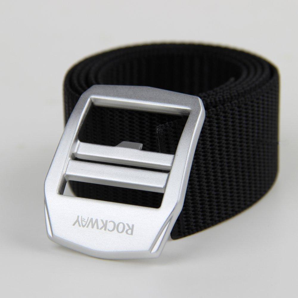 ROCKWAY Mens Webbed Belt Removable Alloy Buckle Freely Adjustable Nylon Belt