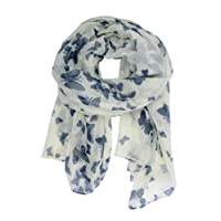 Butterfly Lady Women Fashion Stylish Soft Scarf Shawl Neck Wrap Headscarf Stole (Butterfly Navy/White Background)