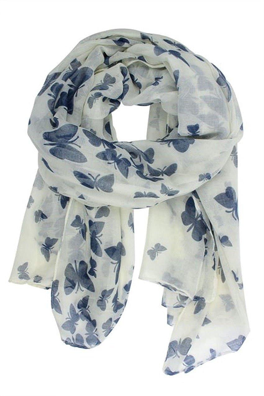 Butterfly Lady Women Fashion Stylish Soft Scarf Shawl Neck Wrap Headscarf Stole (Butterfly Navy/White Background)