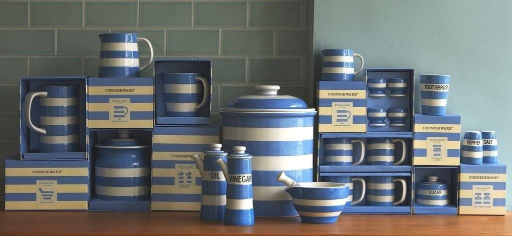 Cornishware Blue and White Stripe Stoneware Mortar and Pestle