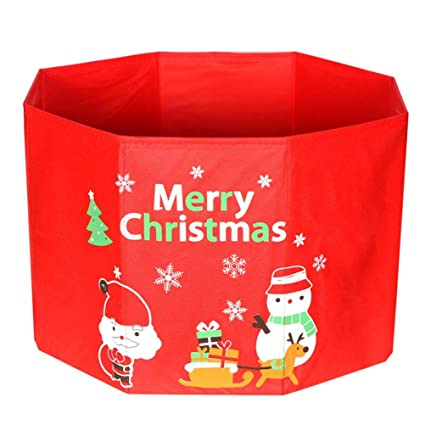 yjbear red fabric christmas ornament storage box christmas tree foundation accessories home decoration toy gift box - Christmas Decoration Storage Box