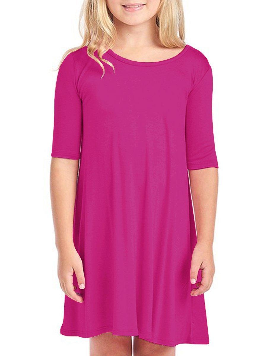 Girls T Shirt Dresses Round Neck 1/2 Sleeve Casual Swing Midi Dress Rose Size 4-5 T