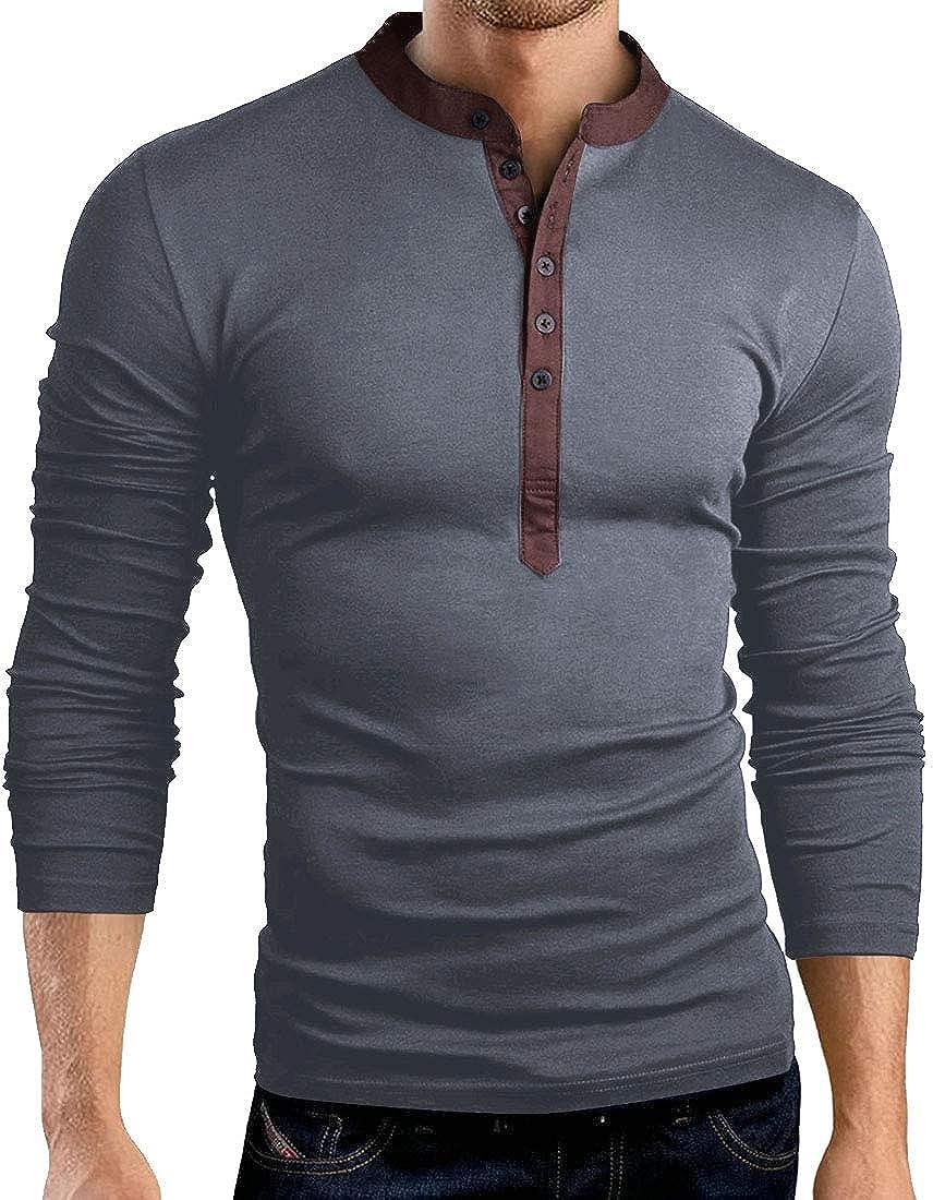 XQS Mens Solid Casual Henley Shirt Top Long Sleeve Slim Button Up T-Shirt