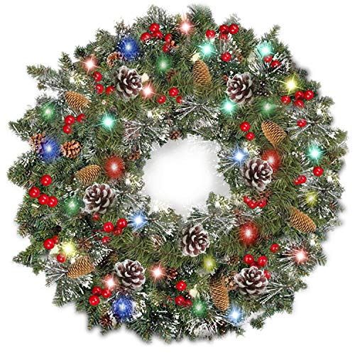 TURNMEON 24 Inch Christmas Wreath with Light - Battery Operated Pre-lit Spruce Wreath Garland with 80 Colorful LED Light, Red Berries, Pine Cones and Snowflakes Silver Bristles Holiday Xmas Decoration (Wreaths For Xmas Sale)