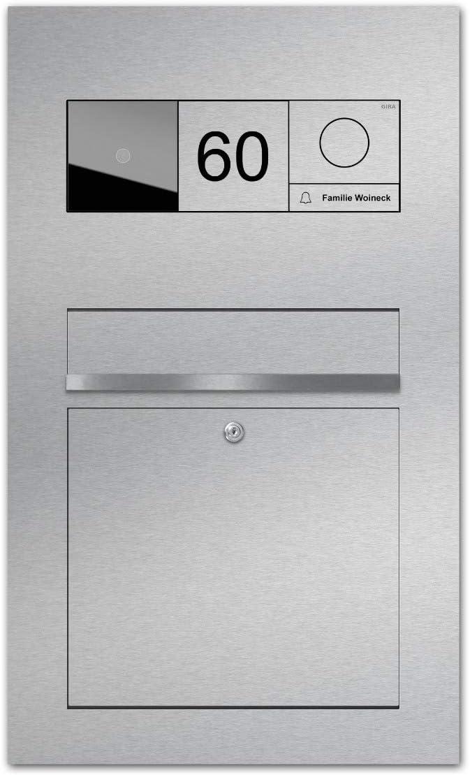 Gira 106 Türsprechanlage als Einbau in Edelstahl-Briefkasten - Gira Briefkasten-Türsprechanlage