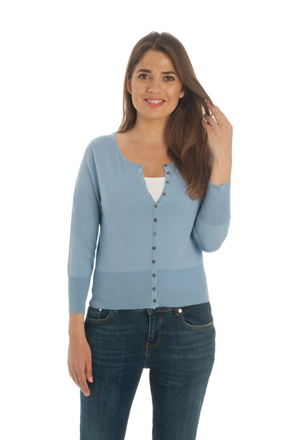 Adorawool - Cardigan Sweater for Women - Luxury Silk & Cotton - Button Down - Cropped Crew - 3/4 Sleeve - Maya Blue - Size Large by Adorawool (Image #2)