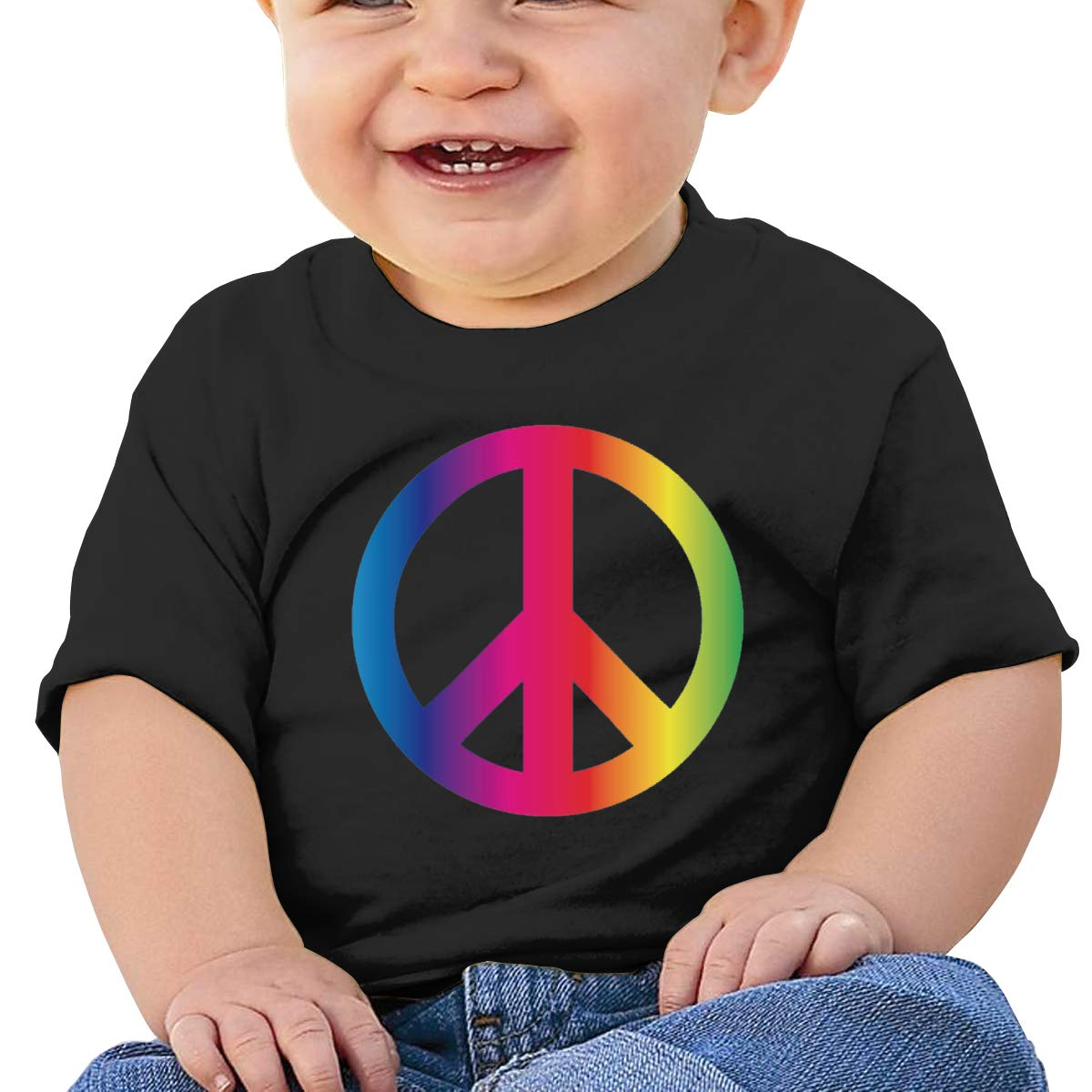 Rainbow Peace Sign Pride Toddler Short-Sleeve Tee for Boy Girl Infant Kids T-Shirt On Newborn 6-18 Months