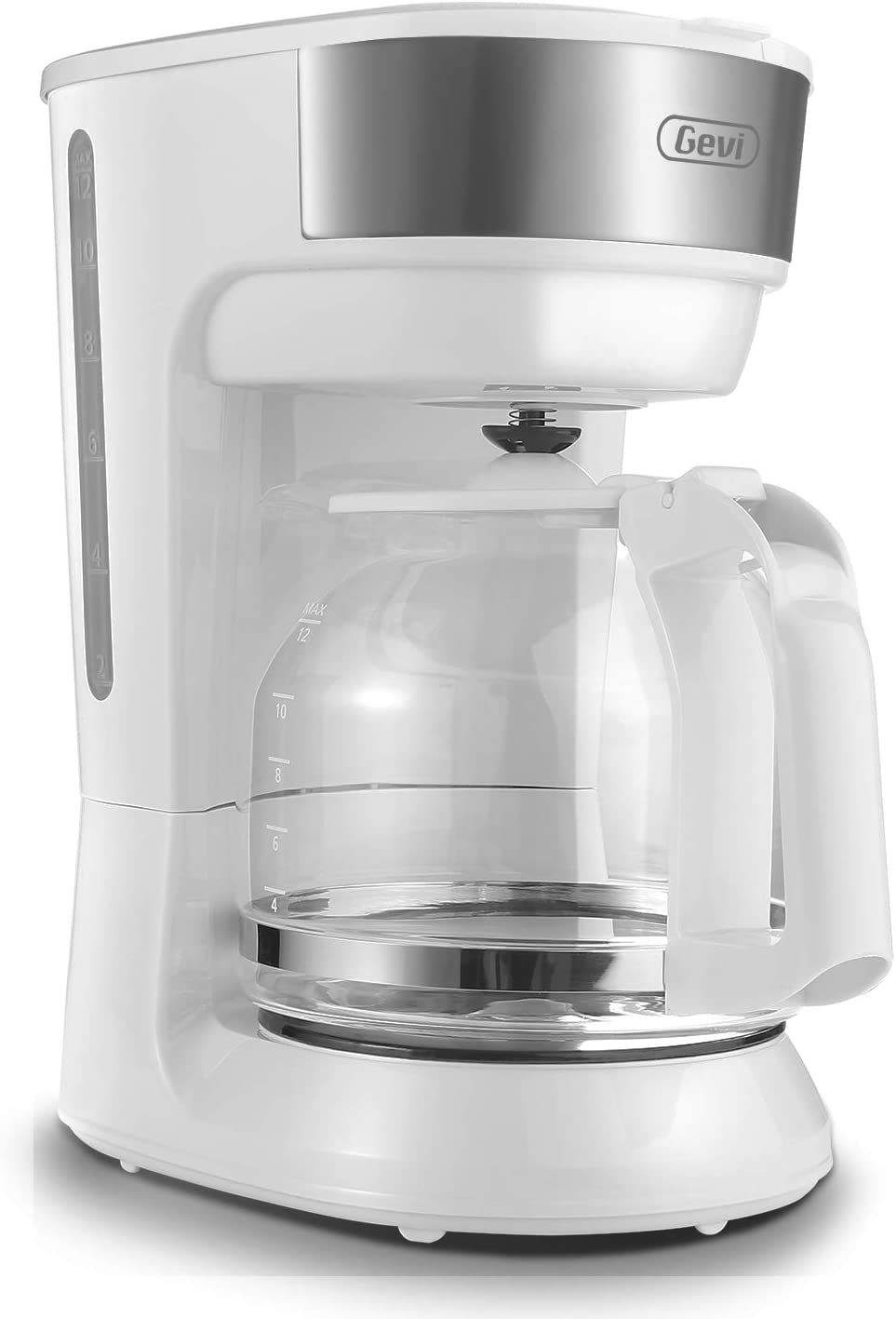12 Cup Coffee Maker with Glass Carafe, White