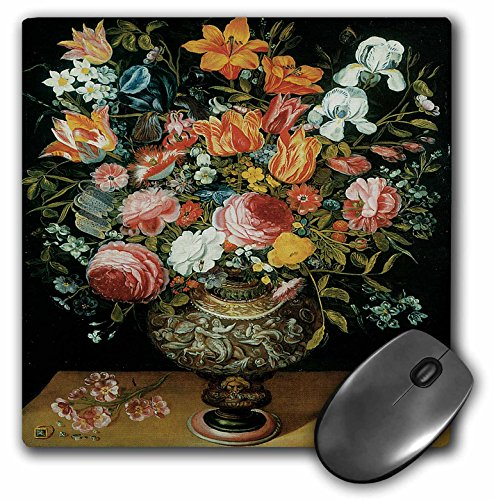 (3dRose BLN Flower Paintings Fine Art Collection - Roses, Tulips, Irises and Other Flowers in a Sculpted Urn by Andries Daniels - MousePad (mp_126451_1))