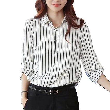 5af6c78944 LaoZan Blusas De Gasa Elegantes Para Mujer Camisas De Fiesta Blusa De Rayas  Camiseta Camisa Top