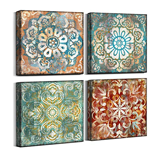 4 Piece Office Wall - Mofutinpo Vintage Flowers Pattern Canvas Prints Wall Art for Bedroom 14x14 inches 4 Pieces Framed Artwork Vintage Picture Ready to Hang for Home Bathroom Kitchen Office Decoration