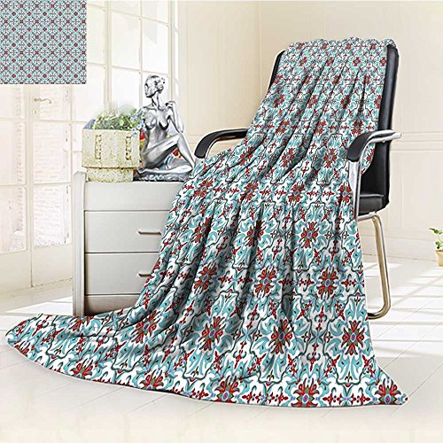 YOYI-HOME Digital Printing Duplex Printed Blanket Vintage Ethnic Antique Floral Pattern Italian Majolica Style Ornate Light Blue Red Green Summer Quilt Comforter /W79 x H59