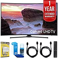 Samsung Curved 55 4K Ultra HD Smart LED TV (2017 Model) - UN55MU6500 with 1 Year Extended Warranty + Accessories Bundle