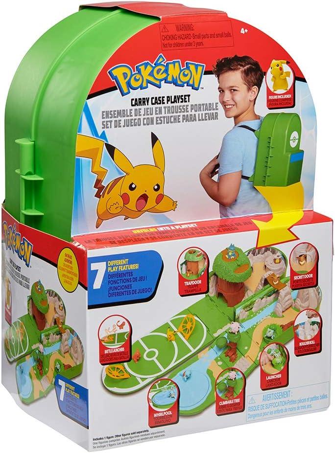 Pokémon Juego de Estuche de Transporte, Contiene una Figura de Pikachu de 5 cm y un Estuche de Transporte Que se Puede Plegar para Formar un Campo de Batalla de Pokémon. con Licencia Oficial 2020