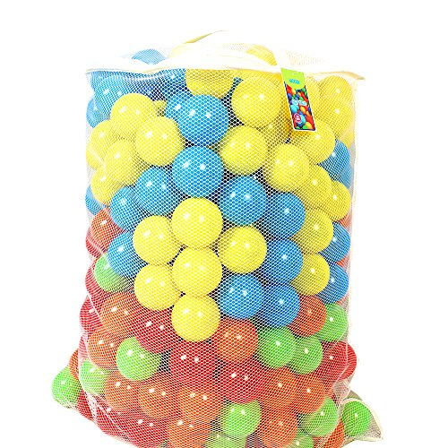 woodi Crush Proof Pit Balls, Made of Food Grade Plastic, Phthalate/BPA Free, 6 Colors with Reusable Box and Carry Out Mesh Net, 400 Piece