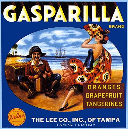 A SLICE IN TIME Tampa Florida Gasparilla Brand Pirate and Spanish Senorita Orange Citrus Fruit Crate Label Art Print