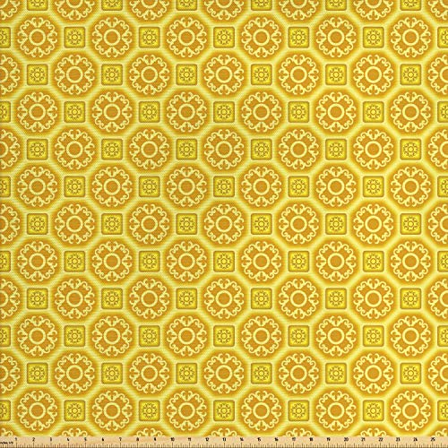 Lunarable Mustard Fabric by The Yard, Middle Eastern Style Baroque Inspired Tiles Portuguese Culture Design, Decorative Fabric for Upholstery and Home Accents, 2 Yards, Earth Yellow