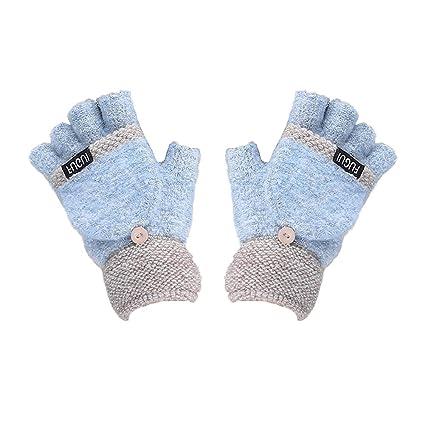 Topdo 1Pcs Half-finger Gloves with Flip Cover Knitting Convertible Fingerless Couple Gloves Soft for Women Men Boys Girls Christmas Birthday Gift Pink