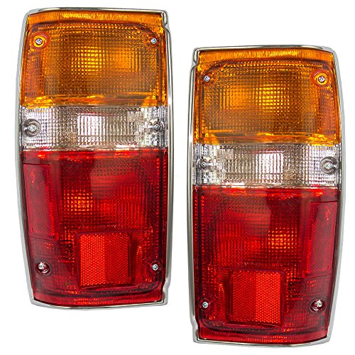 (Driver and Passenger Taillights Tail Lamps w/Chrome Trim Replacement for Toyota Pickup Truck SUV 8156089150 8155089150 AutoAndArt)