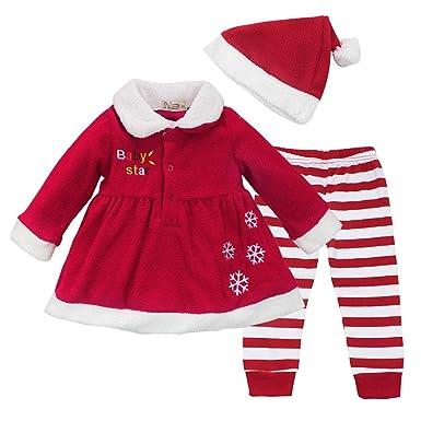 ee84d7d4244a3 MSemis Costume Tenues Déguisement Mère Noël pour Bébé Fille Manteau Veste à  Manches Longues + Pantalon