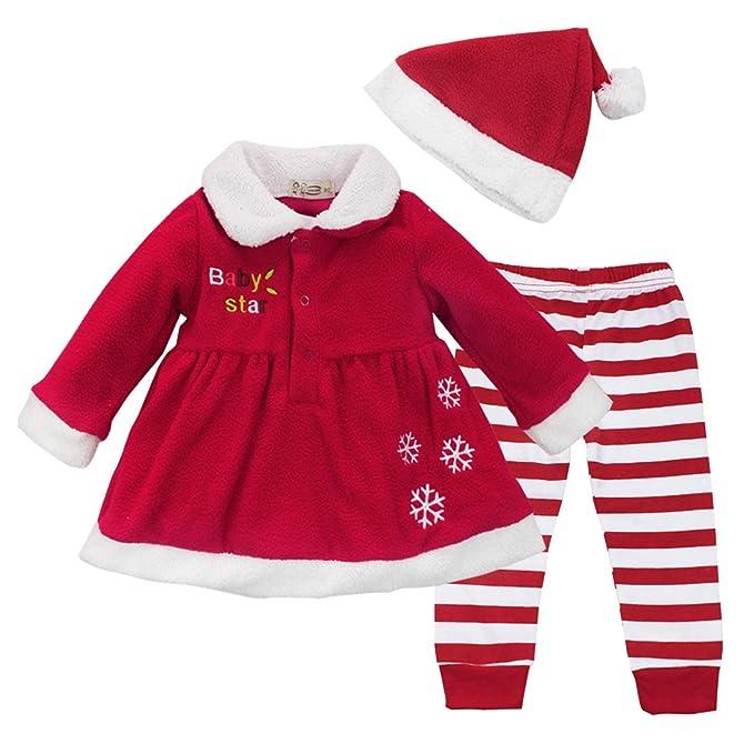 ec1191616 Agoky Conjuntos Ropa Bebe Niña Otoño 3Pcs Disfraz Navidad Infantil Vestido  Fiesta Manga Larga+Pantalones Rayado+Gorro de Navidad Chaqueta Invierno para  ...