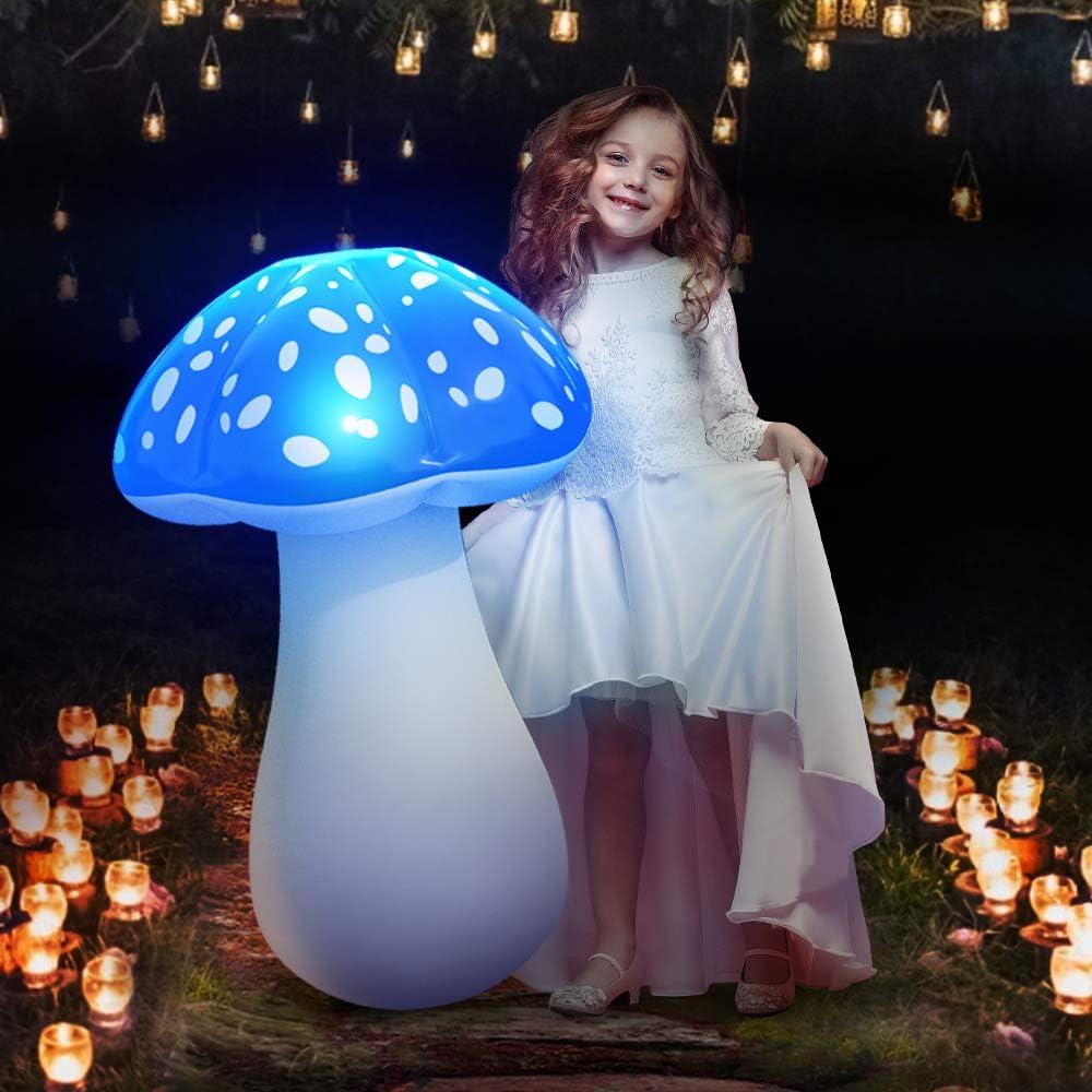 MeiGuiSha Solar Lights Outdoor Garden Decor 32″ Inflatable Mushroom Garden Decor for Outside, Backyard, Step, Path, Courtyard(Single)