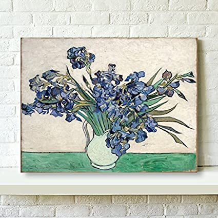 Wieco art irises canvas prints wall art flowers by van gogh famous oil paintings reproduction modern