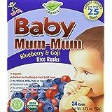 Baby Mum Mum - Organic Rice Rusks Teething Snacks Blueberry & Goji - 24 Count