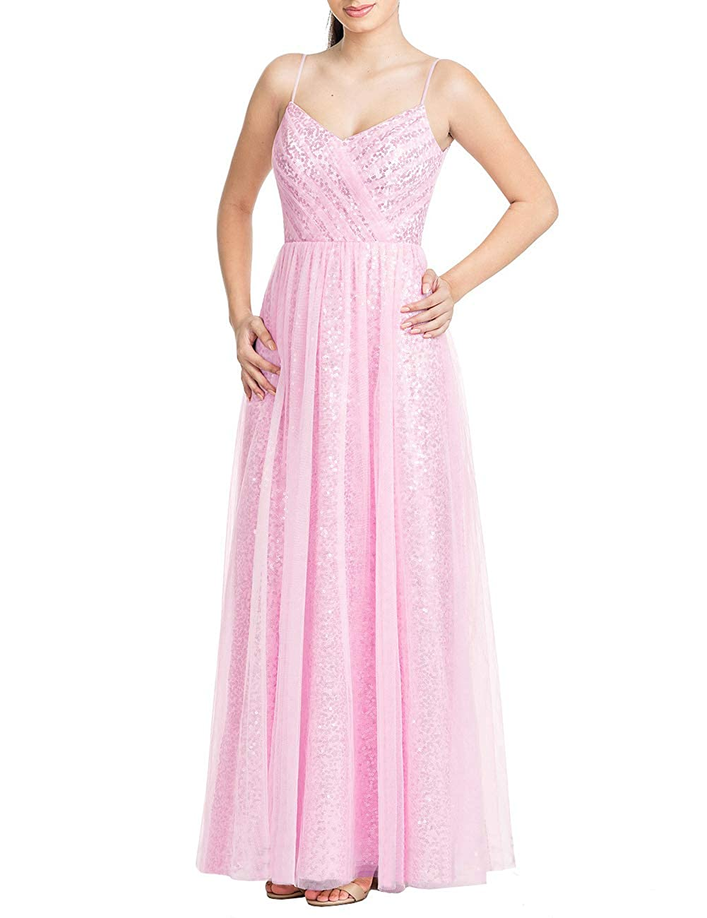 Pink Uther Long Bridesmaid Dresses Sequins Spaghetti Straps Formal Evening Party Prom Gown