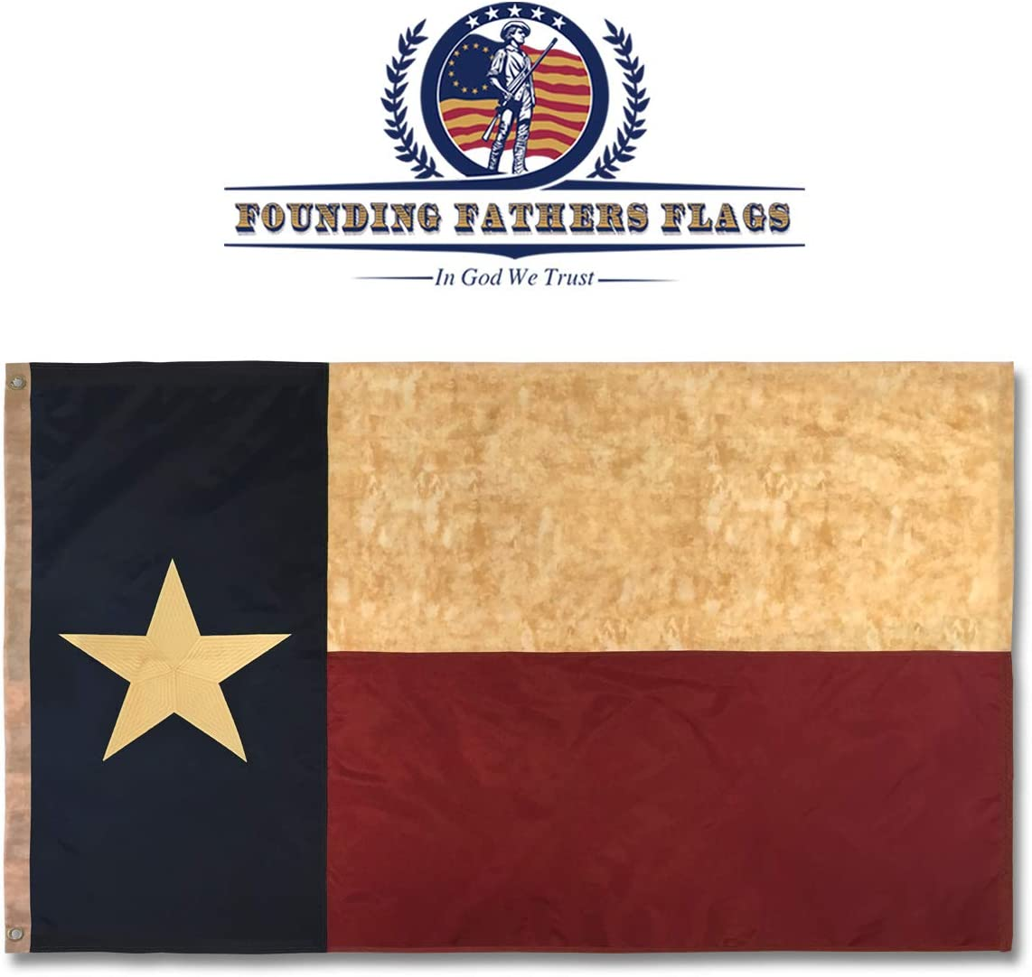 Founding Fathers Flags Embroidered Texas Vintage Flag - 3x5ft Oxford Polyester - Texas