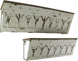 Home View Design, Inc. Set of 2 Metal and Wood Distressed Finish Wall Mounted Decorative Shelves