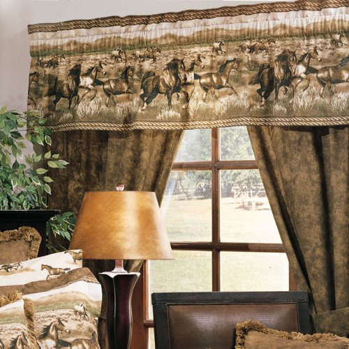 Wild Horses Shower Curtain and Matching Window Valance/Drape Set (1 Shower Curtain, 1 Valance/Drape Set) Decorate your Bathroom and SAVE BIG ON BUNDLING!