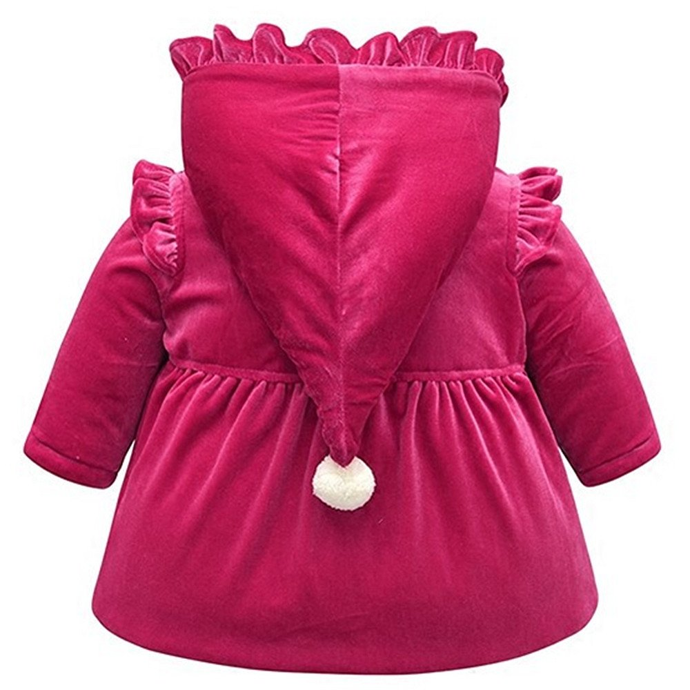 LJYH Baby and Toddler Girls Hooded Pleuche Jacket With Bowtie