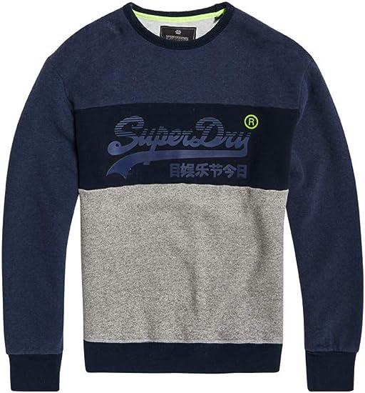 Grey Blue Superdry Vintage Logo Panel Stripe Sweatshirt Superdry Sweatshirt