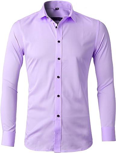 Camisa Bambú Fibra Hombre, Manga Larga, Slim Fit, Camisa Elástica Formal Casual para Hombre: Amazon.es: Ropa y accesorios