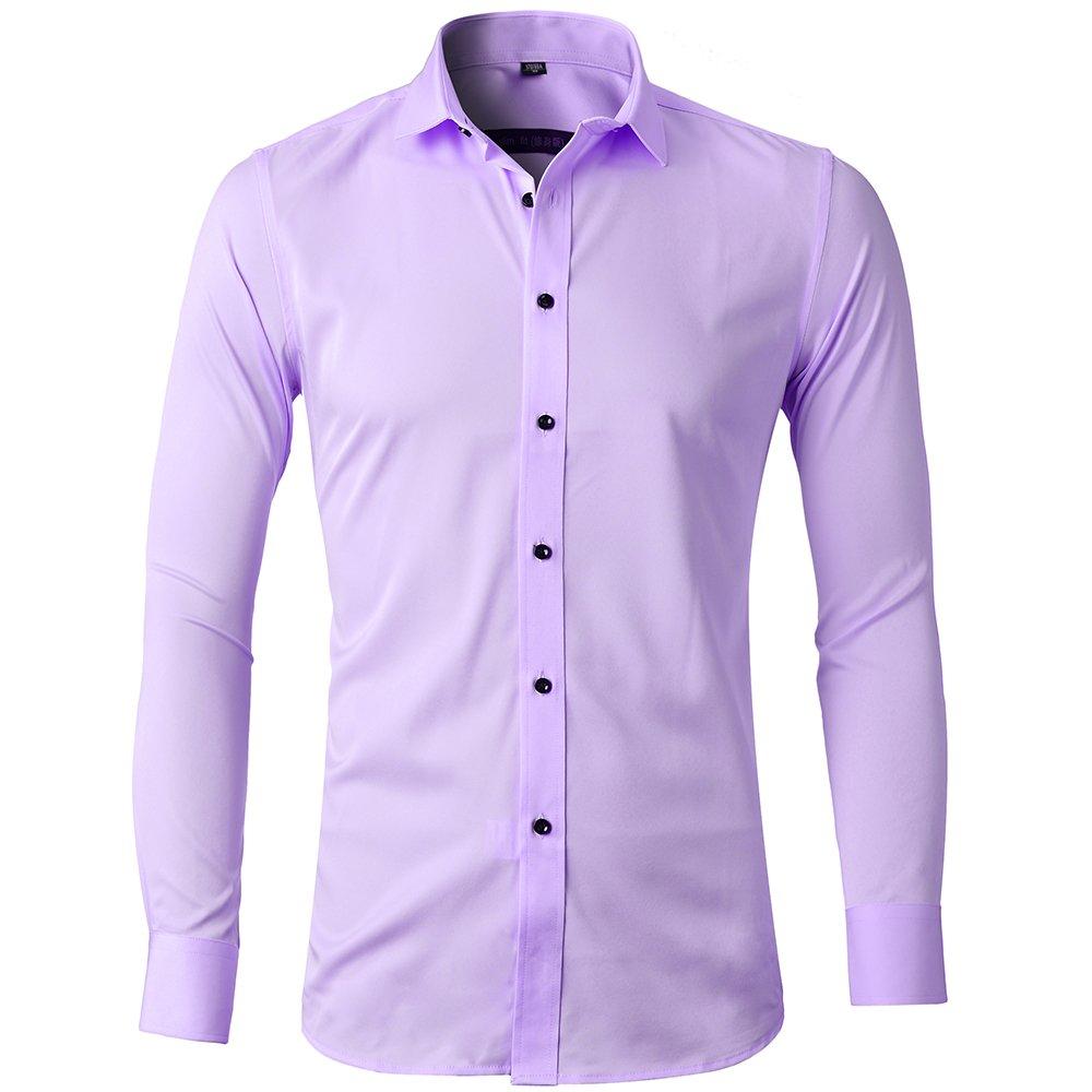 Camicia Elastica Uomo, Manica Lunga, Slim Fit, Casual/Formale Sia Disponibile, più Colori tra Cui Scegliere 2-7Shirt