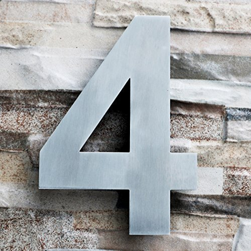 Modern Floating LARGE House Number - 8 Inch - Brushed Stainless Steel (Number 4 Four), Floating Appearance, Easy to install and made of solid 304 stainless steel