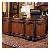 Coaster Gorman Traditional Pergola Double Pedestal Espresso and Brown Red Finished Desk with Felt Lined Drawers