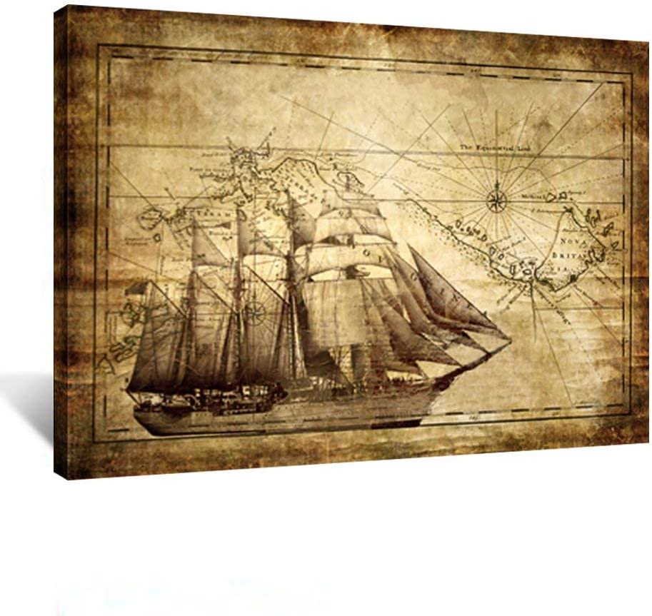 Kreative Arts 7314 Vintage Adventure Ocean Sailing Map Poster Art Print Canvas Framed for Living Decor Kids Study Room Ready to Hang, 24'' x 32'' (60x80cm)