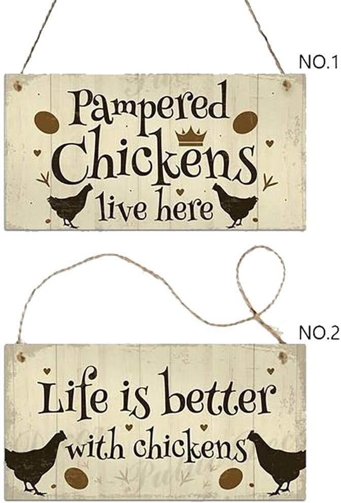 lernmeem Wood Chicken Coop Hanging Plates Chicken Signs Gift Home Decoration Statues