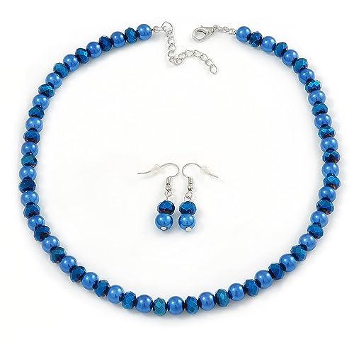 50046fa0c 8 mm azul eléctrico, con cuentas de cristal collar y pendientes de gota  Conjunto en tono plata - 40 cm L/4 cm Ext: Amazon.es: Joyería